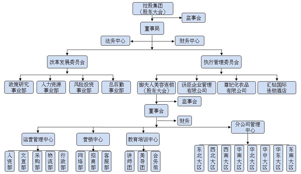 美容企业组织标准结构参考图